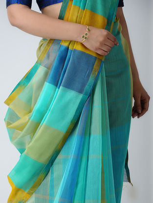 Blue-Yellow Maheshwari Saree
