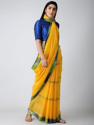 Yellow-Green Maheshwari Saree