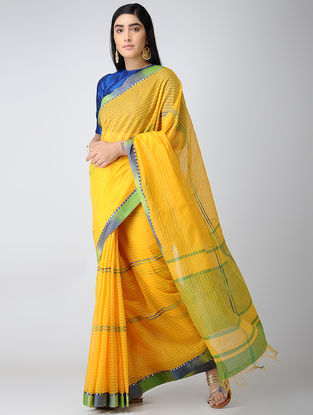 Yellow-Green Maheshwari Saree