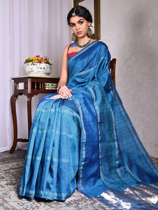 Blue Tussar Silk Saree with Zari
