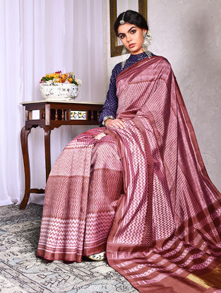 Maroon-Ivory Ikat Tussar Silk Saree with Zari