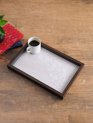 MDF Serving Tray with Chikankari Inlay Work (L - 13.3in, W - 9in, H - 1.1in)