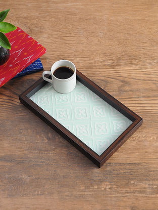 MDF Serving Tray with Chikankari Inlay Work (L - 12in, W - 6.7in, H - 1.1in)