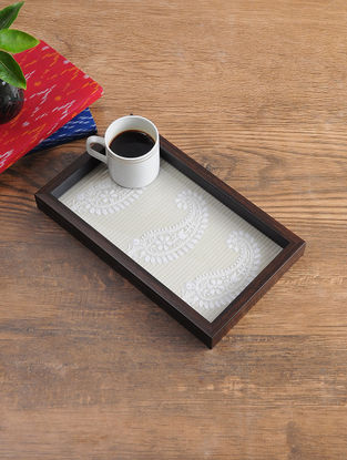 MDF Serving Tray with Chikankari Inlay Work (L - 11.7in, W - 6.7in, H - 1.1in)