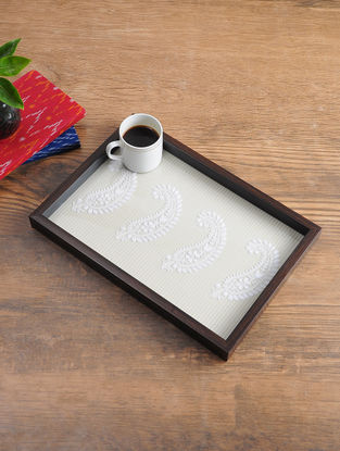 MDF Serving Tray with Chikankari Inlay Work (L - 14.5in, W - 10in, H - 1.1in)