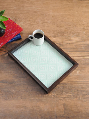 MDF Serving Tray with Chikankari Inlay Work (L - 13.2in, W - 9.5in, H - 1.1in)