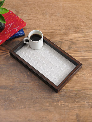MDF Serving Tray with Chikankari Inlay Work (L - 13.3in, W - 8.7in, H - 1.1in)