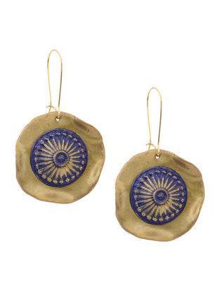 Blue-Golden Clay Earrings