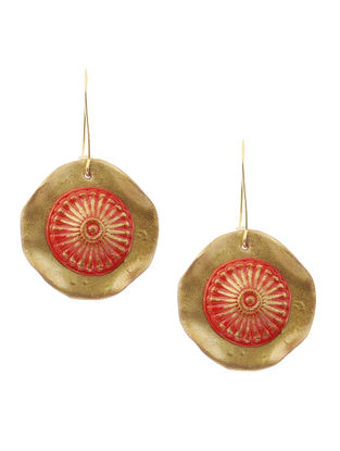 Red-Golden Clay Earrings