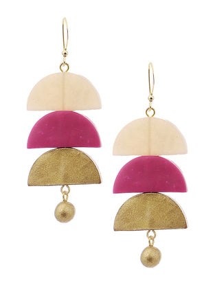 Pink-White Clay Earrings