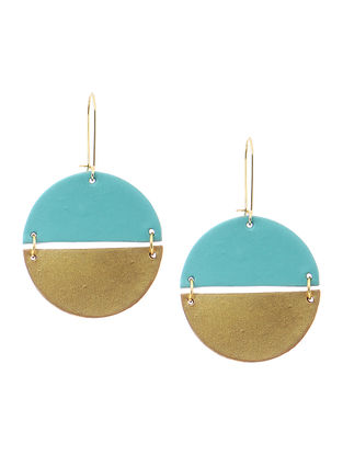 Blue-Golden Clay Earrings