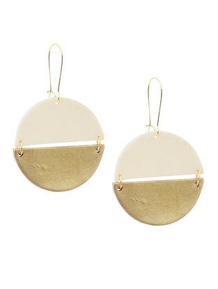 White-Golden Clay Earrings