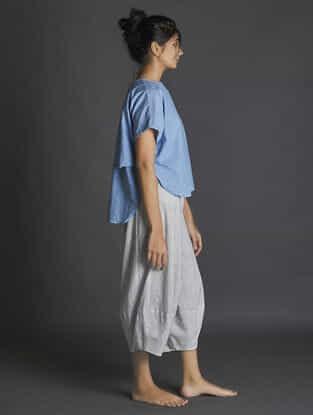 White-Grey Paneled Handspun Khadi Pants