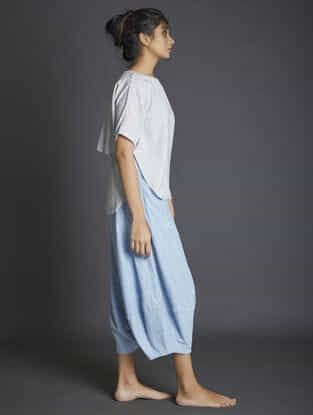 Blue Paneled Handspun Khadi Pants