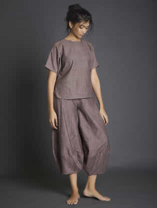 Brown Paneled Handspun Khadi Pants