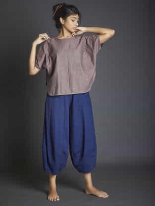 Navy Blue Paneled Handspun Khadi Pants