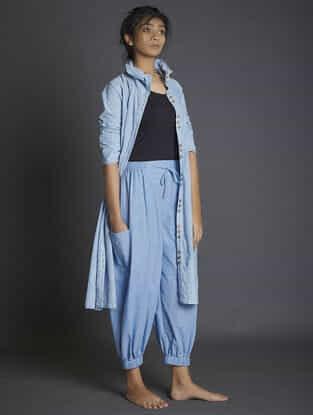 Blue Elasticated Waist Handspun Khadi Pants