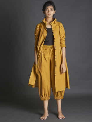Mustard Elasticated Waist Handspun Khadi Pants