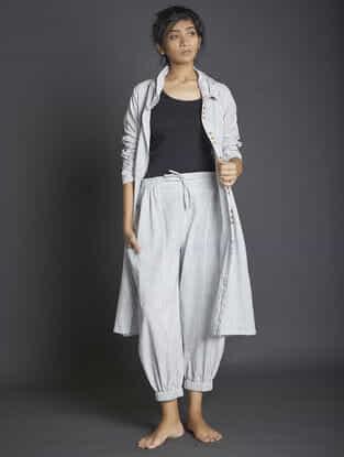 White-Grey Elasticated Waist Handspun Khadi Pants