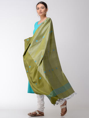 Green-Blue Baluchari Silk Dupatta
