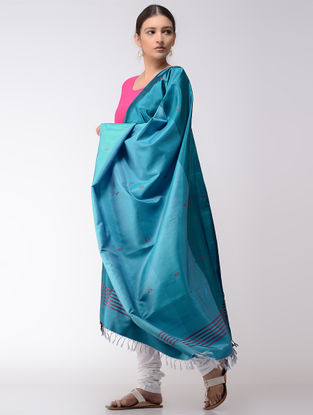 Blue-Red Baluchari Silk Dupatta