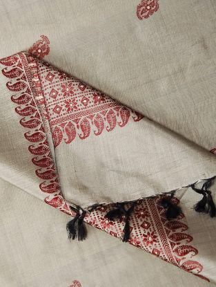 Ivory-Red Baluchari Silk Dupatta