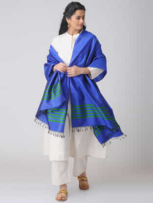 Blue-Green Baluchari Silk Dupatta