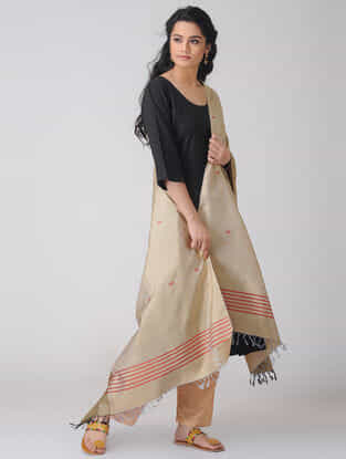 Beige-Red Baluchari Silk Dupatta