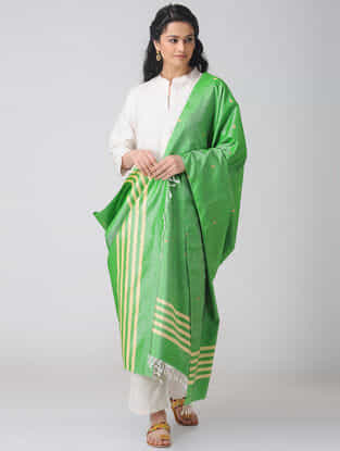 Green Baluchari Silk Dupatta