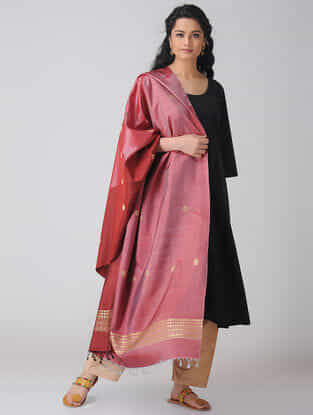 Red-Pink Baluchari Silk Dupatta