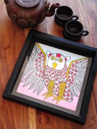 Owl Design Pattachitra Painting Wooden Tray 10in x 10in