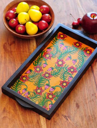 Floral Design Contemporaty style Pattachitra Painting Wooden Tray 15.2in x 7.5in