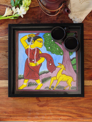 Women with Dear Design Pattachitra Painting Wooden Tray 13.2in x 13.2in