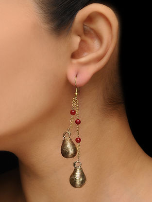 Classic Gold Tone Bead Drop Brass Earrings