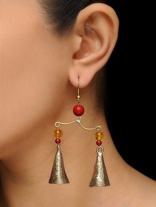 Classic Gold Tone Beaded Brass Earrings