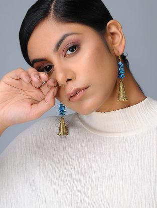 Blue Brass Beaded Earring