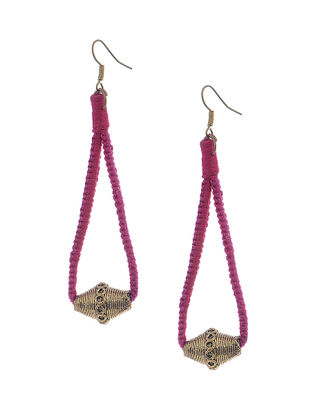 Red-Pink Brass Drop Earring