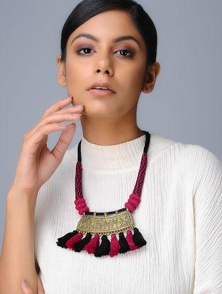 Red-Black Tassel Brass Pendant Necklace
