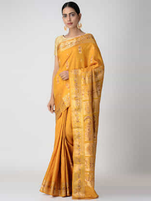 Yellow Swarnachuri Silk Saree