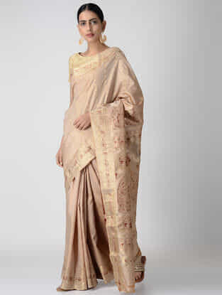 Beige-Red Baluchari Silk Saree