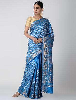 Blue-Maroon Swarnachuri Silk Saree