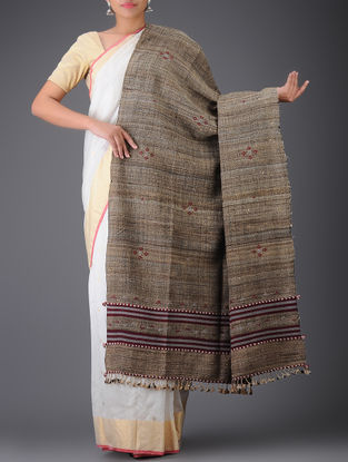 Brown-Maroon Tussar Silk-Wool Shawl