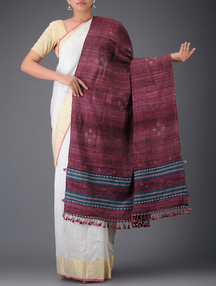 Burgundy-Blue Tussar Silk-Wool Shawl