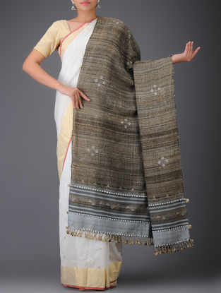 Brown-Grey Tussar Silk-Wool Shawl