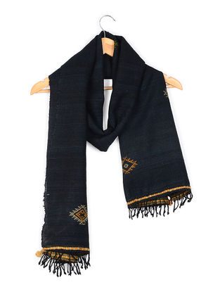 Black Tussar Silk-Wool Stole