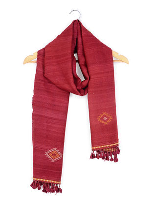 Red Tussar Silk-Wool Stole