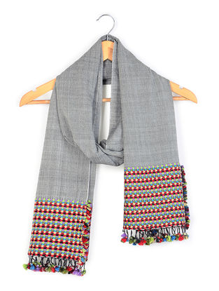 Grey Cotton Stole with Mori Border