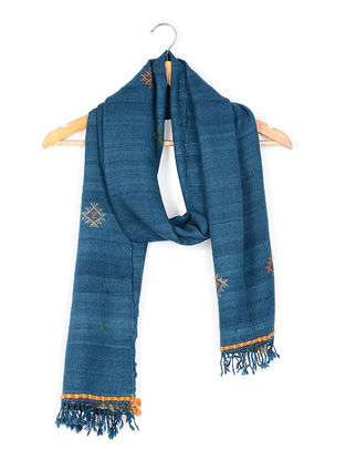 Blue Tussar Silk-Wool Stole