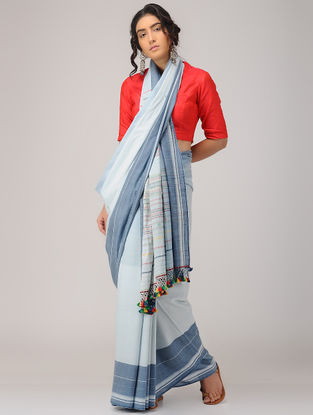 Ivory-Blue Cotton Saree with Tassels