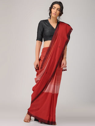 Red-Maroon Cotton Saree with Tassels